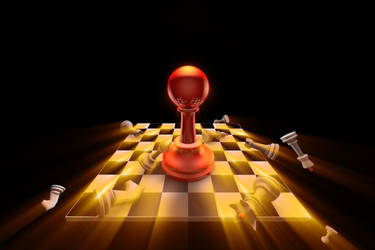 Apocalypse. Chess composition. 3D illustration