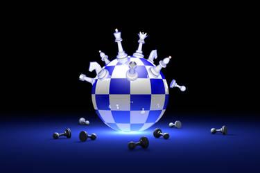 Elite Society (chess metaphor). 3D illustration