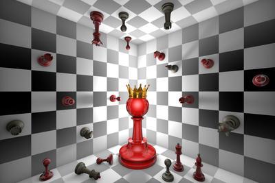 Chess Messiah (chess metaphor).3D illustration