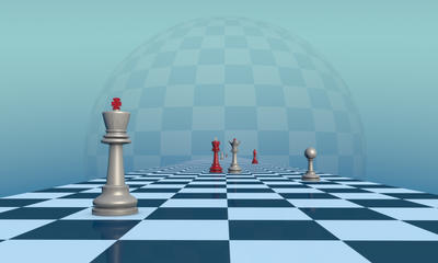 Lonely King. Chess composition. 3D illustration