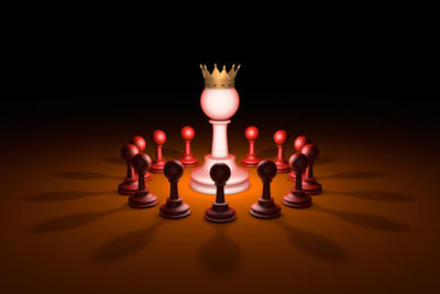 The new leader (chess metaphor). 3D rendering