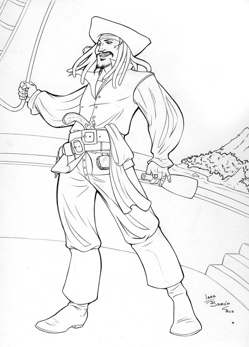 captain jack sparrow coloring pages download