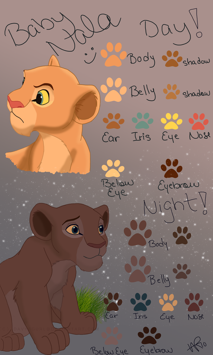 baby nala color chart by caper