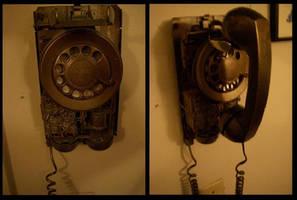 Steampunk Telephone by BlameTheEconomy