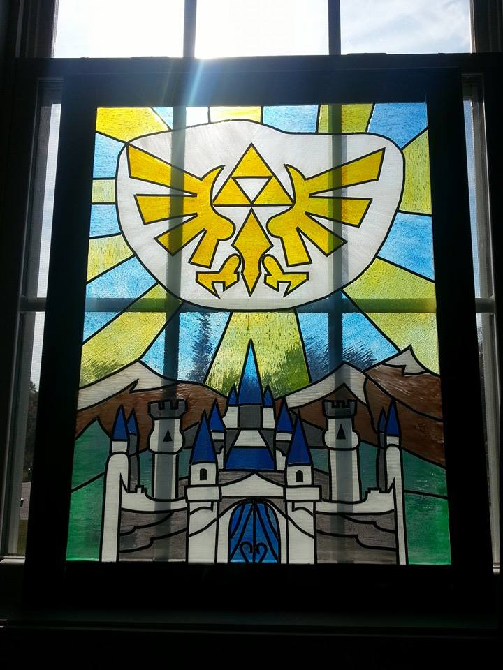 Painted Stained Glass window of Hyrule Crest by Triforce759