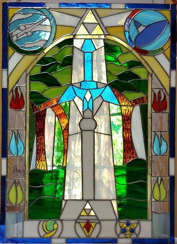 Master Sword stained glass window. by Triforce759
