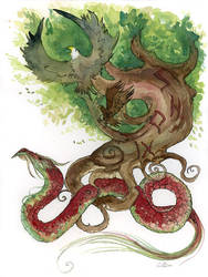 Yggdrasil Watercolor Tattoo