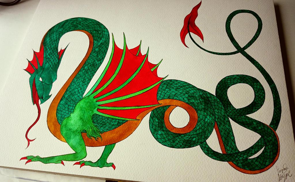 Dragon #11 (watercolor) by SeigneurNazgul