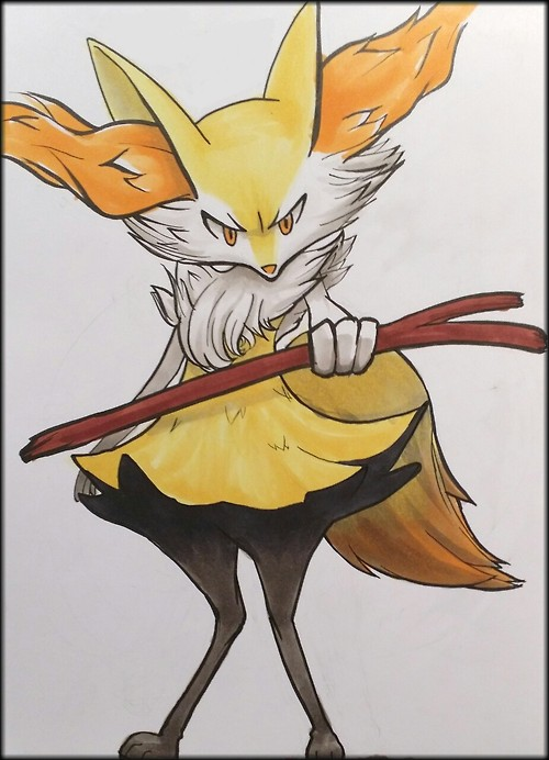 Braixen by Etherpendant