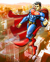 Superman in flight by GinoDrone