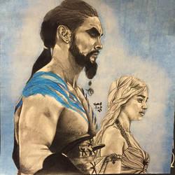 Drogo and Khaleesi by KeitimariArt