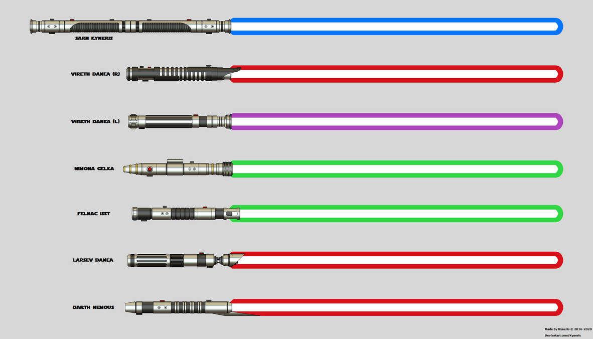 A collection of ignited lightsabers.