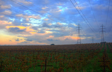 Powerlines over the fields HDR by AmmarkoV1