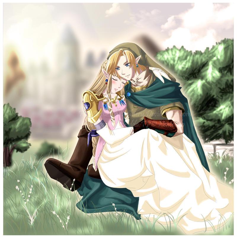 link and zelda serenity by nardhwen - Link Et Zelda