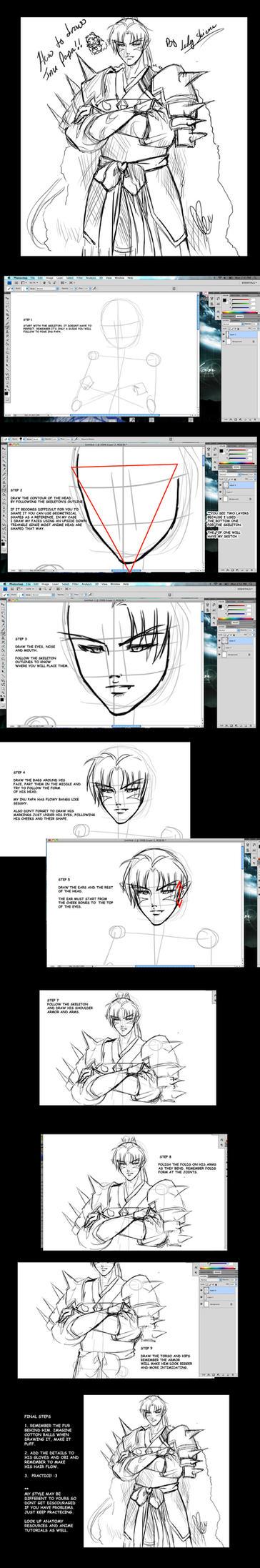 How to draw Inu no Taisho tutorial by Nardhwen