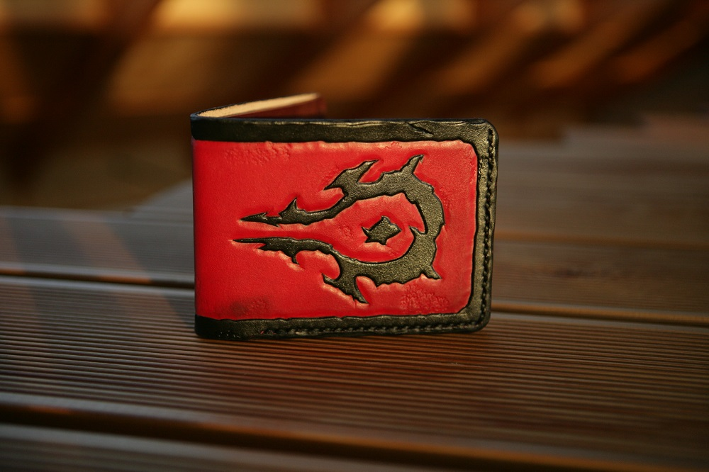 Horde damaged leather bifold wallet by Arnakhat