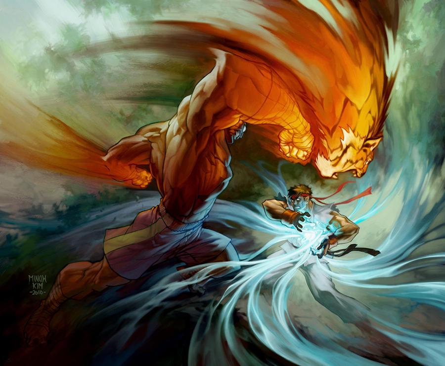 Sagat vs Ryu! by MinohKim