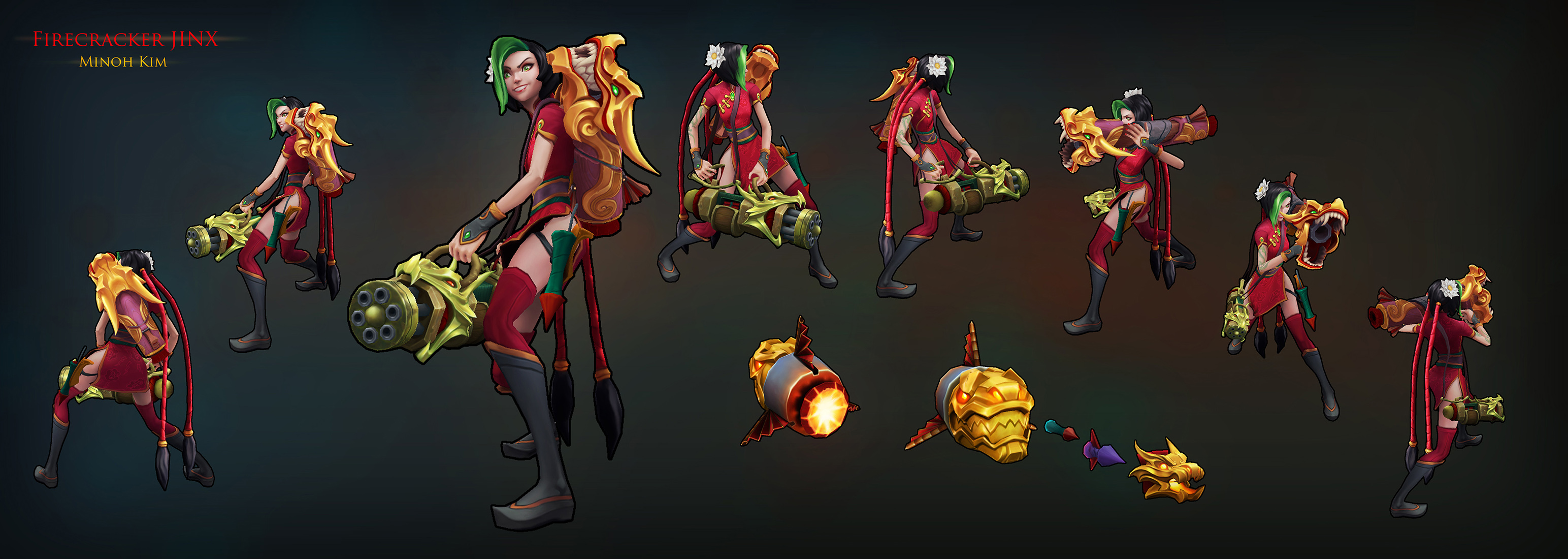 League of Legends - Firecracker Jinx skin by MinohKim