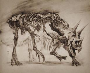 T-Rex vs Triceratops study, LANHM 2015 by MinohKim
