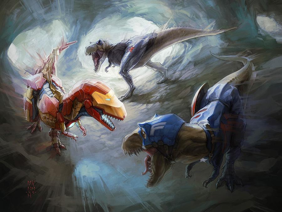 T-Rex Civil War by MinohKim