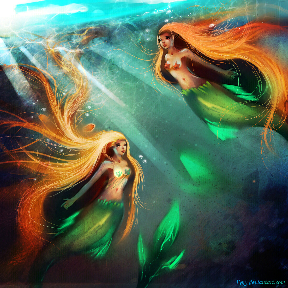 Twins mermaids by ryky
