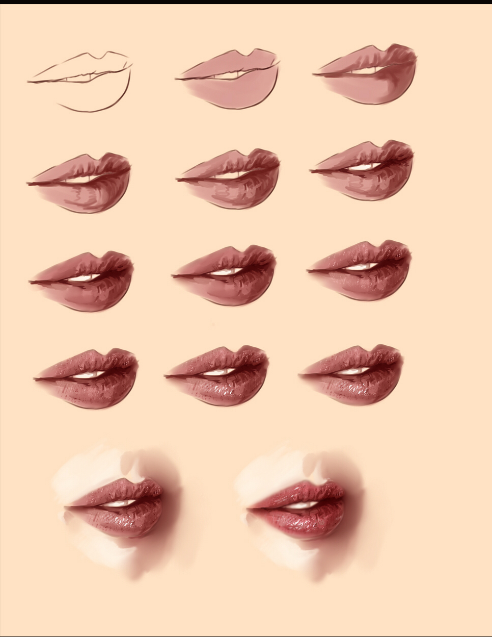 how to draw princess lips