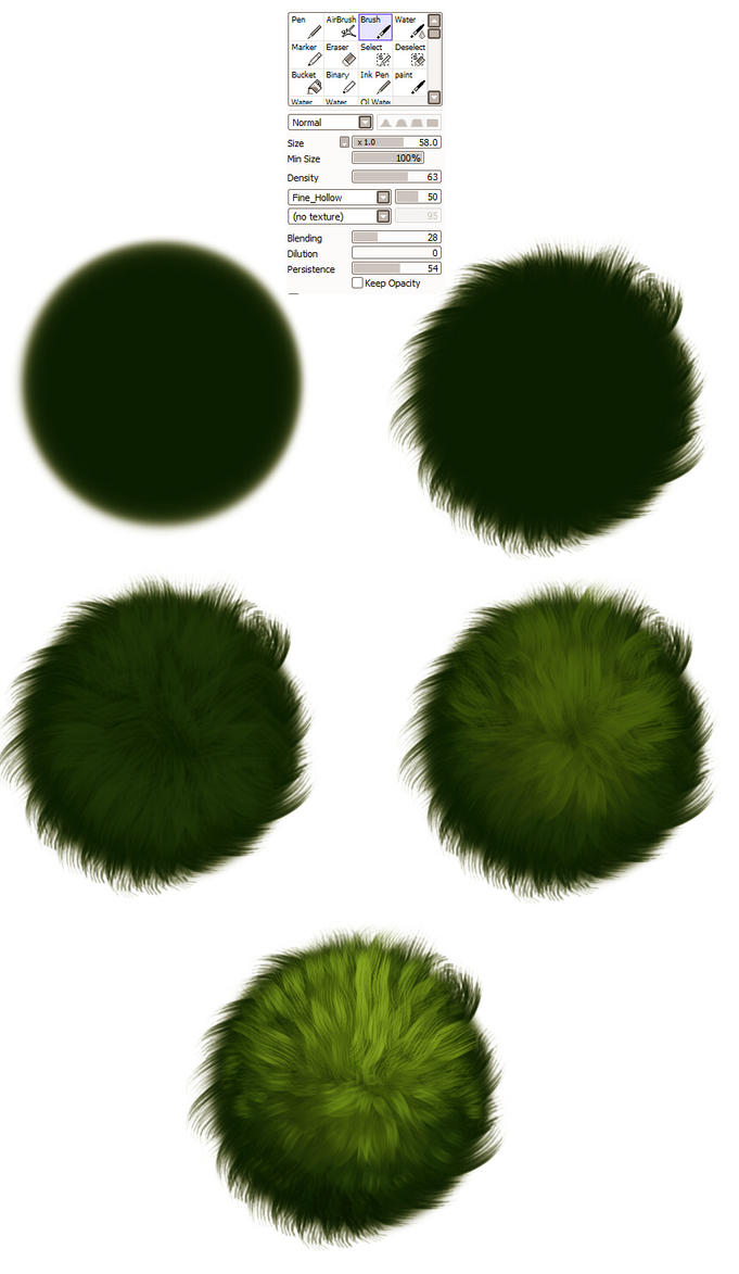 Grass brush settings -  tutorial by ryky