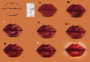 Lips step by step -tutorial brush settings