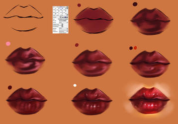 Lips step by step -tutorial brush settings