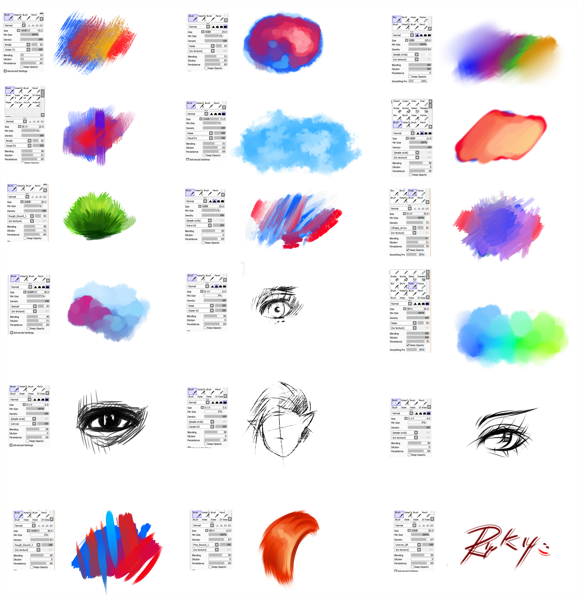 Brushes type for Paint tool SAI  2 by ryky. Brushes type for Paint tool SAI  2 by ryky on DeviantArt