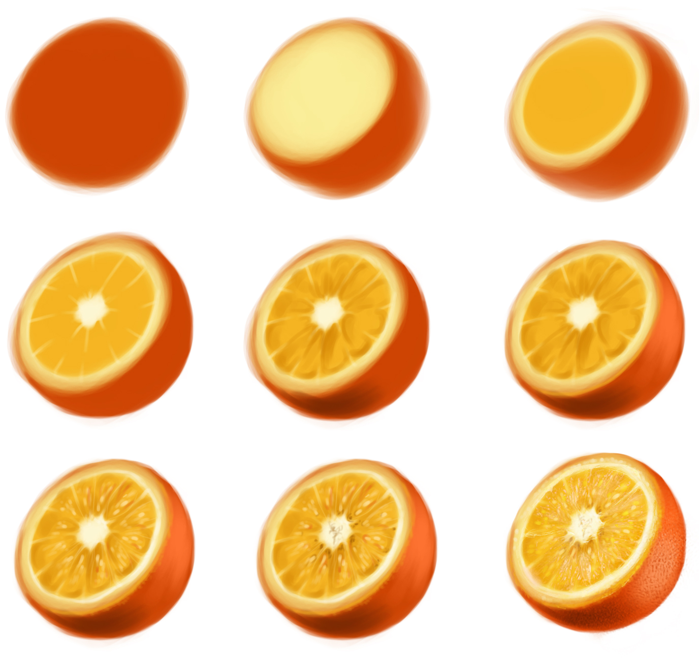 orange - step by step