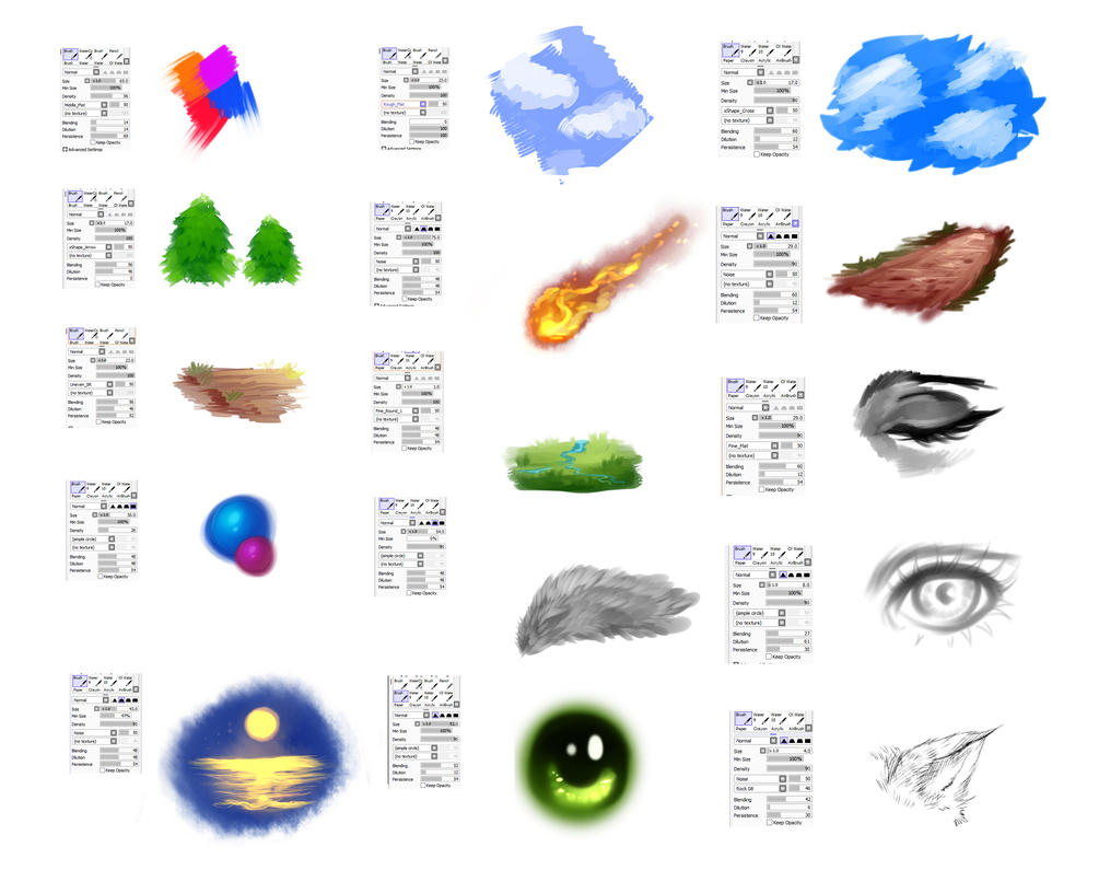 Brushes settings for Paint tool SAI by ryky ...