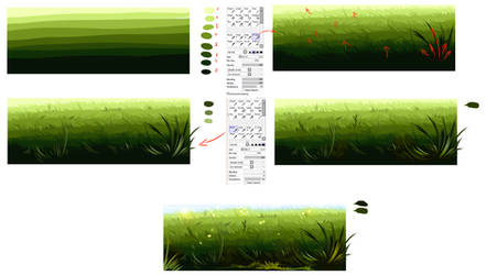 Easiest way to draw a grass
