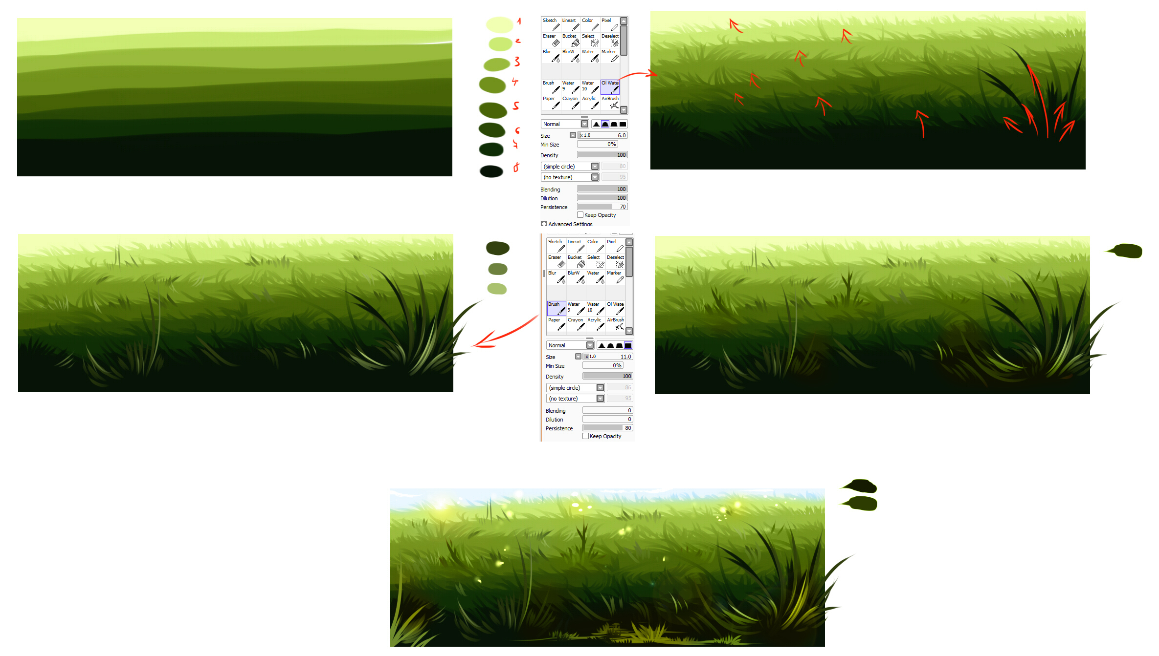 how to draw grass with pastels