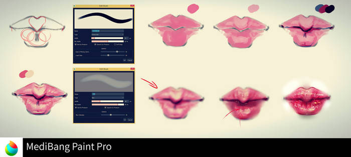 Lips step by step-MediBang Paint