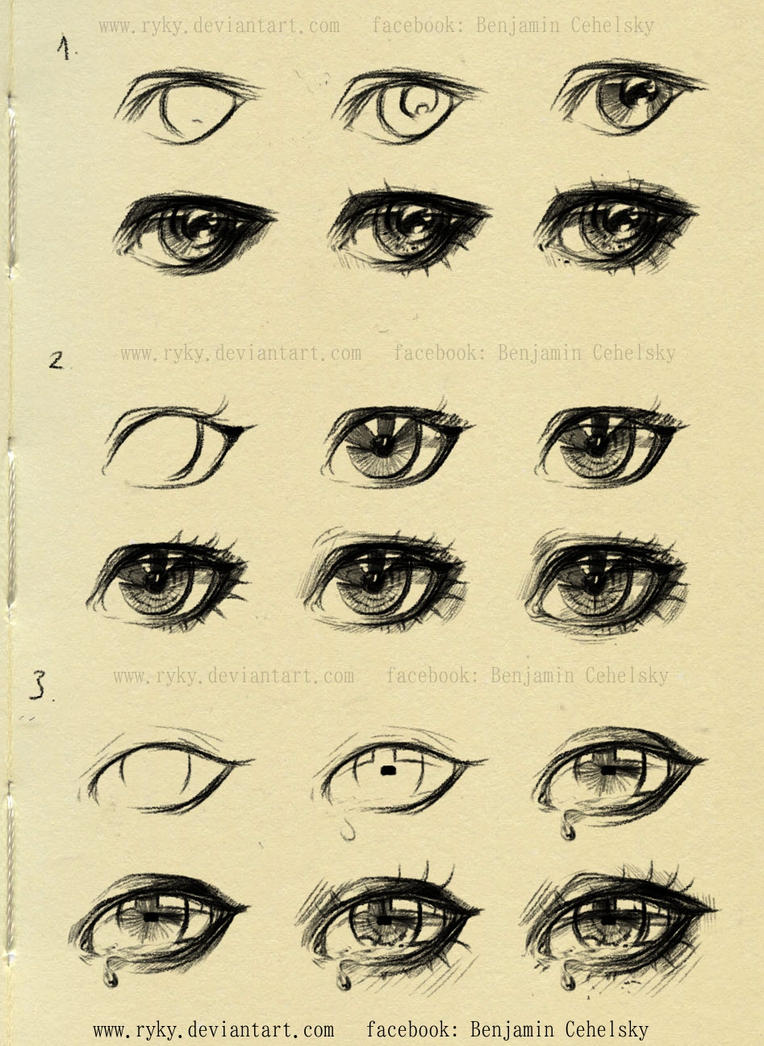 eyes step by step reference by ryky on deviantart