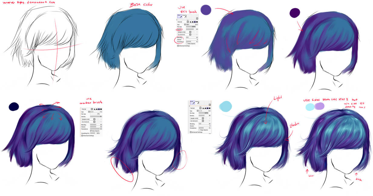 How To Draw Hair By Ryky On Deviantart