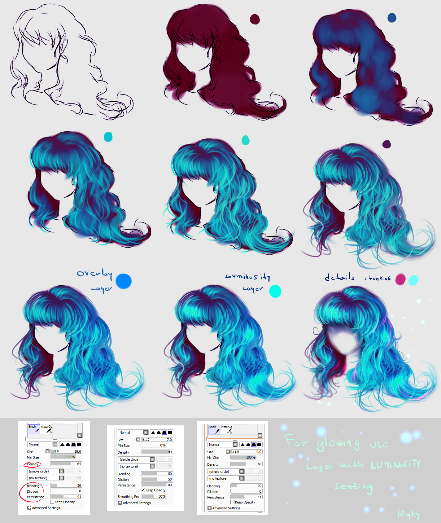 glowing blue hair - easy step by step