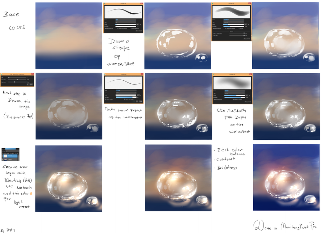 Water drop easy tutorial by ryky on deviantart for Painting on water tutorial