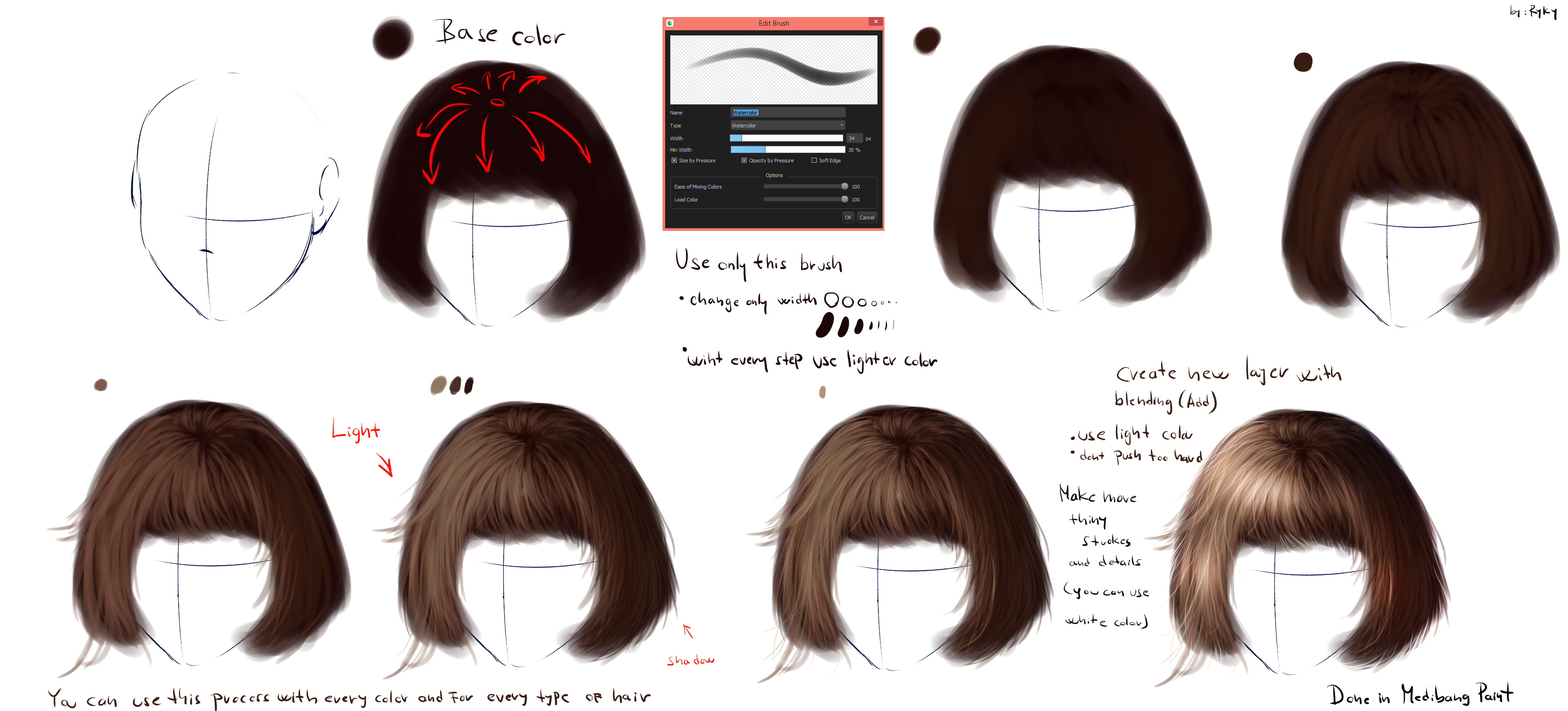 easy realistic hair tutorial by ryky on deviantart