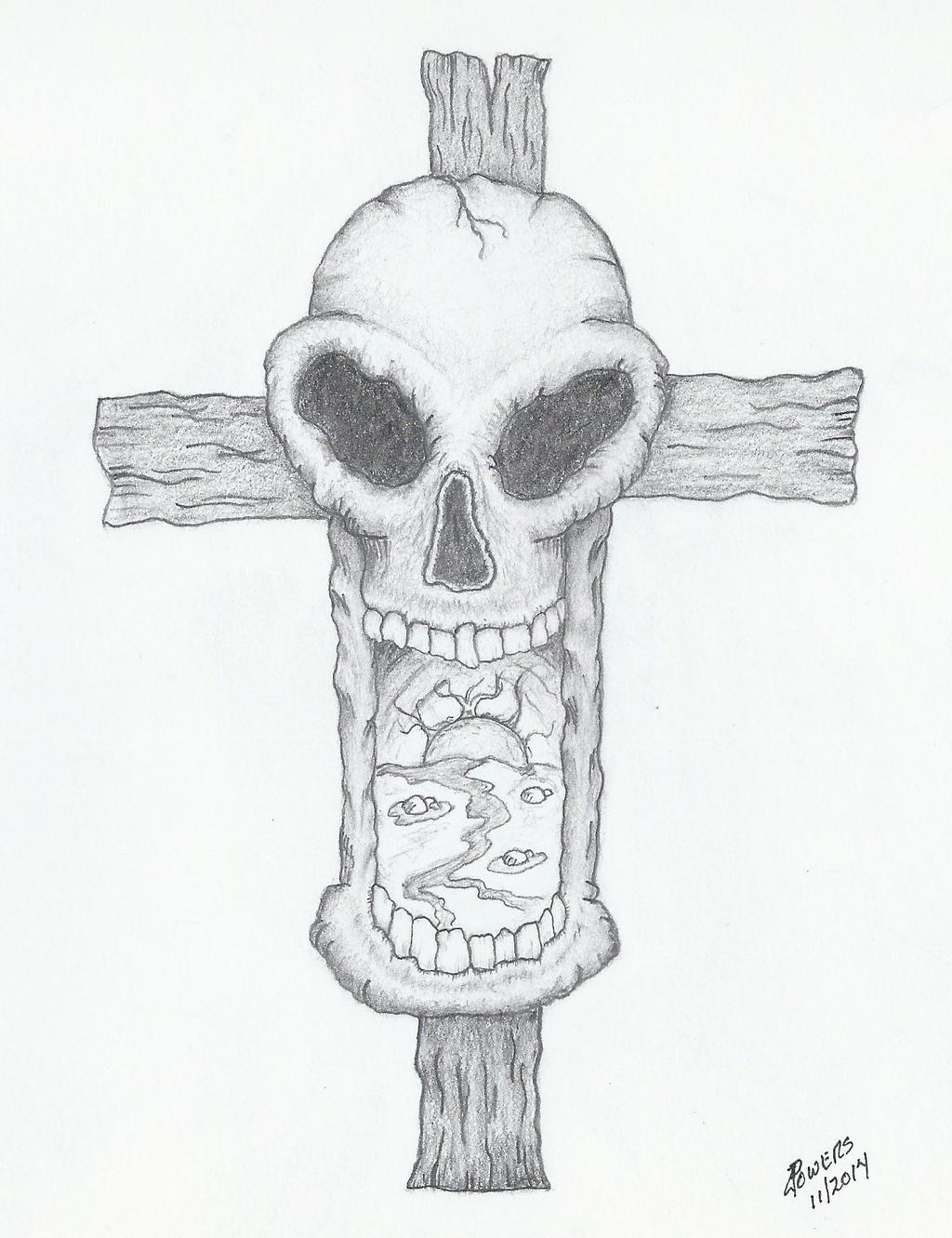 Skull and Cross by DesolateProphet on DeviantArt Skull And Cross Drawing