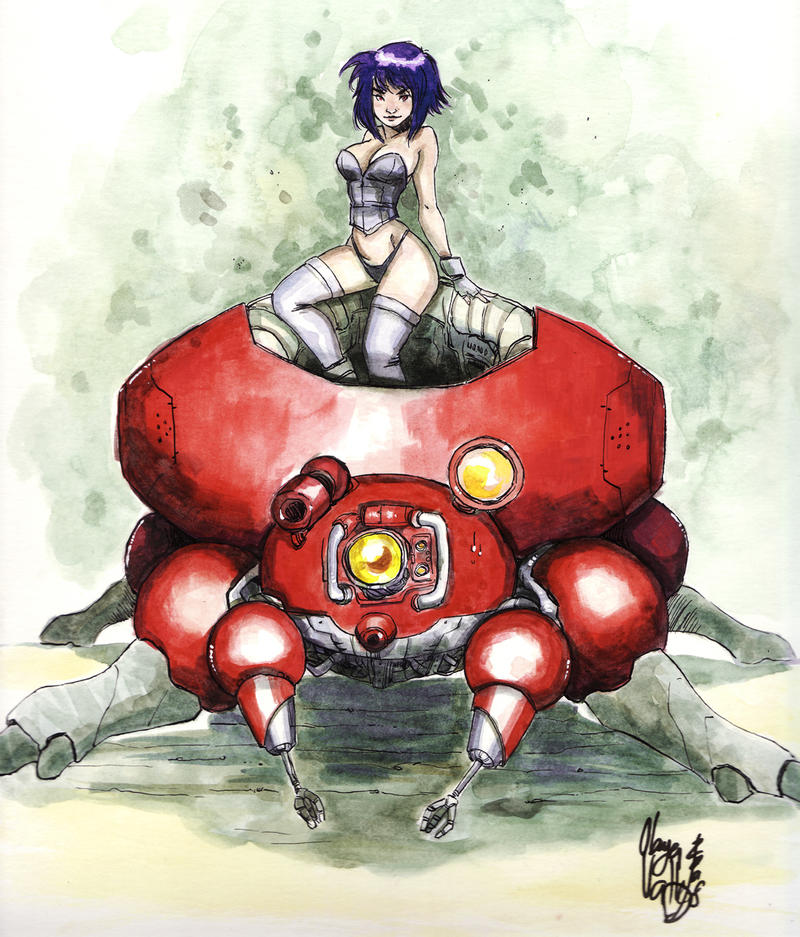 Kusanagi and Fuchikoma by OlayaValle