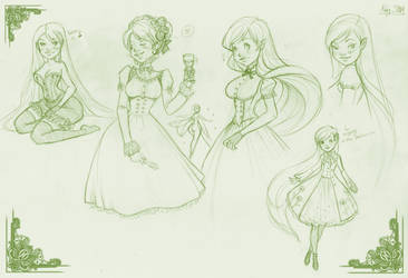 Absinthe doodles by OlayaValle