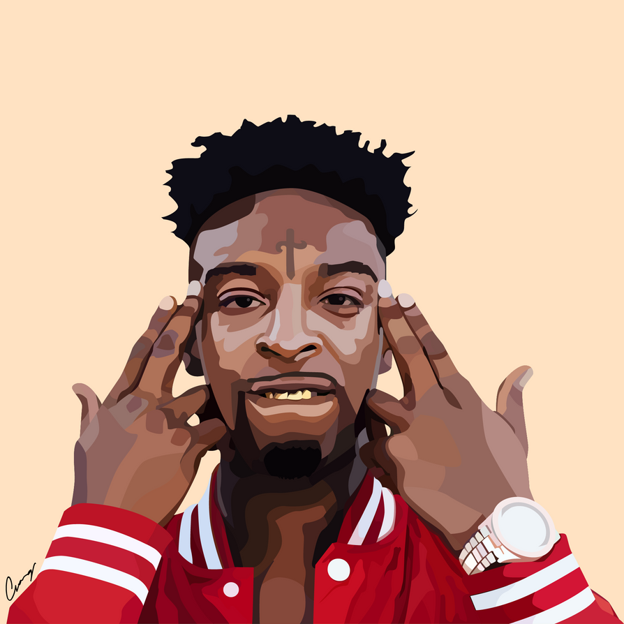 how to draw 21 savage face