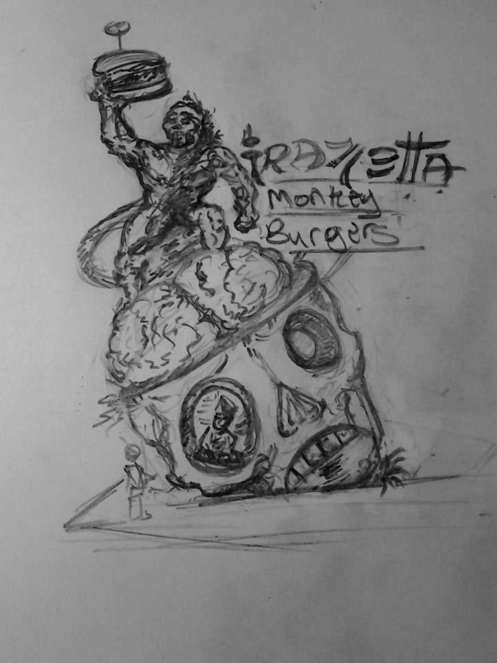 Frazetta Monkey Burgers by chaosangel424