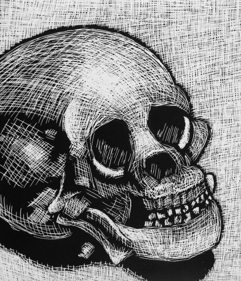 Skull Etching by XxAnimeWolfxX