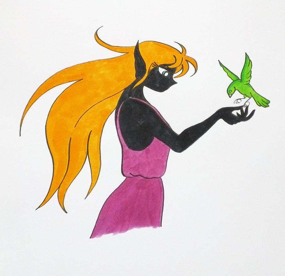 Blonde Dark Elf with a Green Bird by Jakegothicsnake