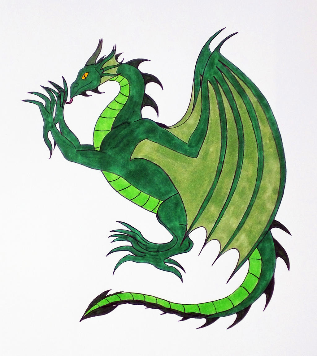 Dragon Heraldry: Medieval Heraldic Green Dragon By Jakegothicsnake On