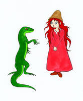 COMMISSION: Lizard talking to a Little Girl