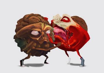 Zombie buddies, Nut and Peach by LexHimself